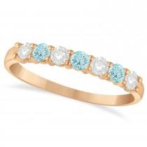Diamond & Aquamarine 7 Stone Wedding Band 14k Rose Gold (0.50ct)