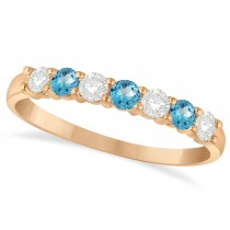 Diamond & Blue Topaz 7 Stone Wedding Band 14k Rose Gold (0.50ct)