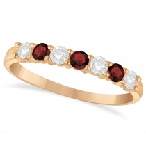Diamond & Garnet 7 Stone Wedding Band 14k Rose Gold (0.50ct)