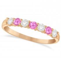 Diamond & Pink Sapphire 7 Stone Wedding Band 14k Rose Gold (0.50ct)