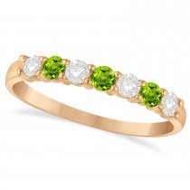 Diamond & Peridot 7 Stone Wedding Band 14k Rose Gold (0.50ct)
