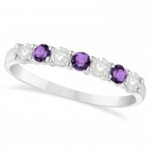 Diamond & Amethyst 7 Stone Wedding Band 14k White Gold (0.50ct)