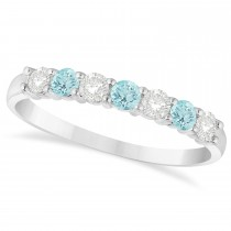 Diamond & Aquamarine 7 Stone Wedding Band 14k White Gold (0.50ct)