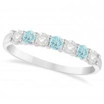 Diamond & Aquamarine 7 Stone Wedding Band 14k White Gold (0.50ct)