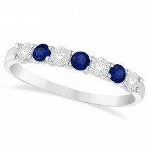 Diamond & Blue Sapphire 7 Stone Wedding Band 14k White Gold (0.50ct)