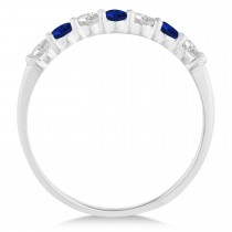 Diamond & Blue Sapphire 7 Stone Wedding Band 14k White Gold (0.50ct)|escape