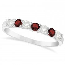 Diamond & Garnet 7 Stone Wedding Band 14k White Gold (0.50ct)