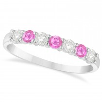 Diamond & Pink Sapphire 7 Stone Wedding Band 14k White Gold (0.50ct)