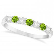 Diamond & Peridot 7 Stone Wedding Band 14k White Gold (0.50ct)