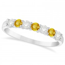 Diamond & Yellow Sapphire 7 Stone Wedding Band 14k White Gold (0.50ct)