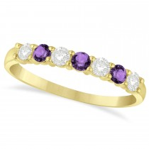 Diamond & Amethyst 7 Stone Wedding Band 14k Yellow Gold (0.50ct)
