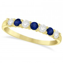 Diamond & Blue Sapphire 7 Stone Wedding Band 14k Yellow Gold (0.50ct)