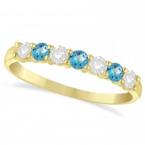 Diamond & Blue Topaz 7 Stone Wedding Band 14k Yellow Gold (0.50ct)