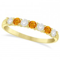 Diamond & Citrine 7 Stone Wedding Band 14k Yellow Gold (0.50ct)