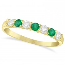 Diamond & Emerald 7 Stone Wedding Band 14k Yellow Gold (0.50ct)