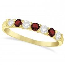 Diamond & Garnet 7 Stone Wedding Band 14k Yellow Gold (0.50ct)
