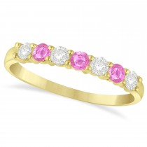 Diamond & Pink Sapphire 7 Stone Wedding Band 14k Yellow Gold (0.50ct)