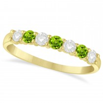 Diamond & Peridot 7 Stone Wedding Band 14k Yellow Gold (0.50ct)
