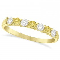 White & Yellow Diamond 7 Stone Wedding Band 14k Yellow Gold (0.50ct)