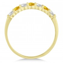 Diamond& Yellow Sapphire 7 Stone Wedding Band 14k Yellow Gold (0.50ct)