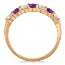 Diamond & Amethyst 7 Stone Wedding Band 14k Rose Gold (0.75ct)