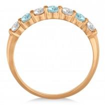 Diamond & Aquamarine 7 Stone Wedding Band 14k Rose Gold (0.75ct)