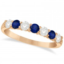 Diamond & Blue Sapphire 7 Stone Wedding Band 14k Rose Gold (0.75ct)