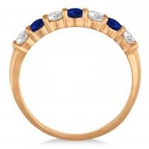 Diamond & Blue Sapphire 7 Stone Wedding Band 14k Rose Gold (0.75ct)
