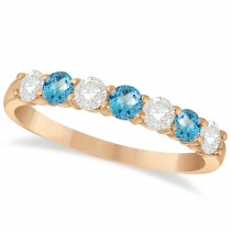 Diamond & Blue Topaz 7 Stone Wedding Band 14k Rose Gold (0.75ct)