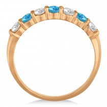 Diamond & Blue Topaz 7 Stone Wedding Band 14k Rose Gold (0.75ct)
