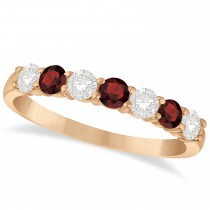Diamond & Garnet 7 Stone Wedding Band 14k Rose Gold (0.75ct)