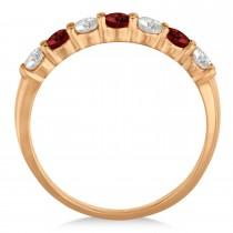 Diamond & Garnet 7 Stone Wedding Band 14k Rose Gold (0.75ct)