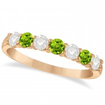 Diamond & Peridot 7 Stone Wedding Band 14k Rose Gold (0.75ct)