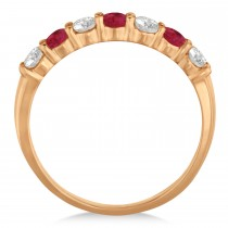 Diamond & Ruby 7 Stone Wedding Band 14k Rose Gold (0.75ct)