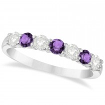 Diamond & Amethyst 7 Stone Wedding Band 14k White Gold (0.75ct)