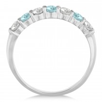 Diamond & Aquamarine 7 Stone Wedding Band 14k White Gold (0.75ct)|escape
