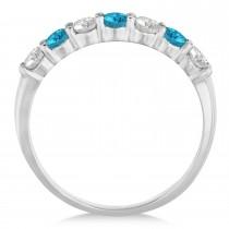 Blue & White Diamond 7 Stone Wedding Band 14k White Gold (0.75ct)