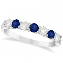 Diamond & Blue Sapphire 7 Stone Wedding Band 14k White Gold (0.75ct)