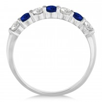 Diamond & Blue Sapphire 7 Stone Wedding Band 14k White Gold (0.75ct)