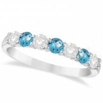 Diamond & Blue Topaz 7 Stone Wedding Band 14k White Gold (0.75ct)