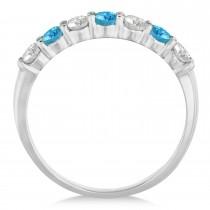Diamond & Blue Topaz 7 Stone Wedding Band 14k White Gold (0.75ct)