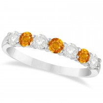 Diamond & Citrine 7 Stone Wedding Band 14k White Gold (0.75ct)