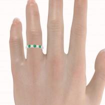 Diamond & Emerald 7 Stone Wedding Band 14k White Gold (0.75ct)