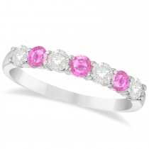 Diamond & Pink Sapphire 7 Stone Wedding Band 14k White Gold (0.75ct)