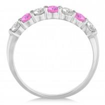 Diamond & Pink Sapphire 7 Stone Wedding Band 14k White Gold (0.75ct)