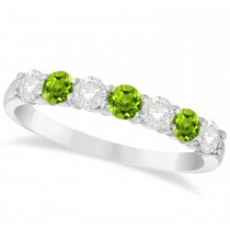 Diamond & Peridot 7 Stone Wedding Band 14k White Gold (0.75ct)