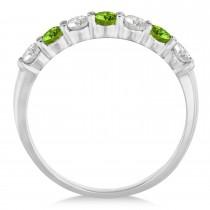 Diamond & Peridot 7 Stone Wedding Band 14k White Gold (0.75ct)