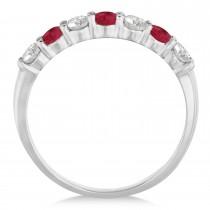 Diamond & Ruby 7 Stone Wedding Band 14k White Gold (0.75ct)