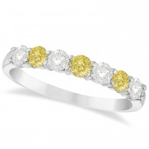 White & Yellow Diamond 7 Stone Wedding Band 14k White Gold (0.75ct)