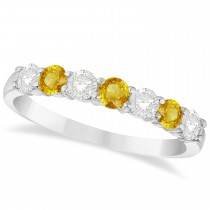 Diamond & Yellow Sapphire 7 Stone Wedding Band 14k White Gold (0.75ct)
